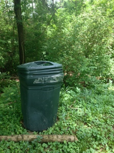 This garbage can was in our back yard when we moved into our house. We cut the bottom off for use as a compost bin.